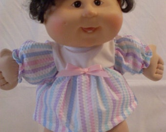 "14"" Baby Girl Cabbage Patch Pastel Stripe Dress Set"