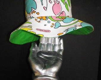MOD Authentic Peter Max print floppy hippie hat from genuine vintage 60s 70s 1960s 1970s fabric Beach Hat Pool Hat Wide Brim