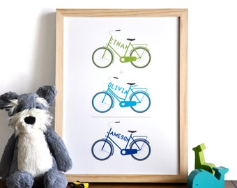 Type a Bike Trio - Personalized Typographic Bicycle Family Name Arithmetic Print - modern nursery wall art - 12x16 children decor