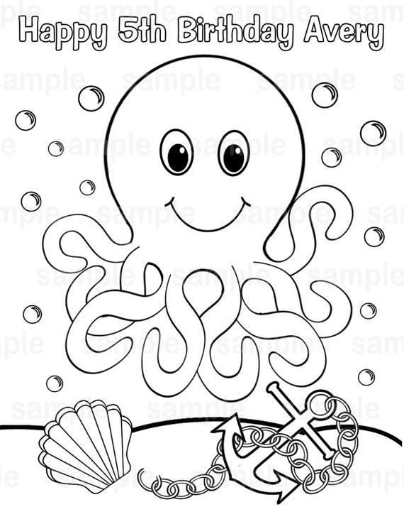 Personalized Printable Octopus Under The Sea Birthday Party