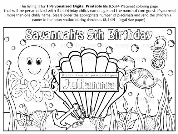 personalized birthday coloring pages | PRINTABLE Personalized Under the sea Birthday by ...
