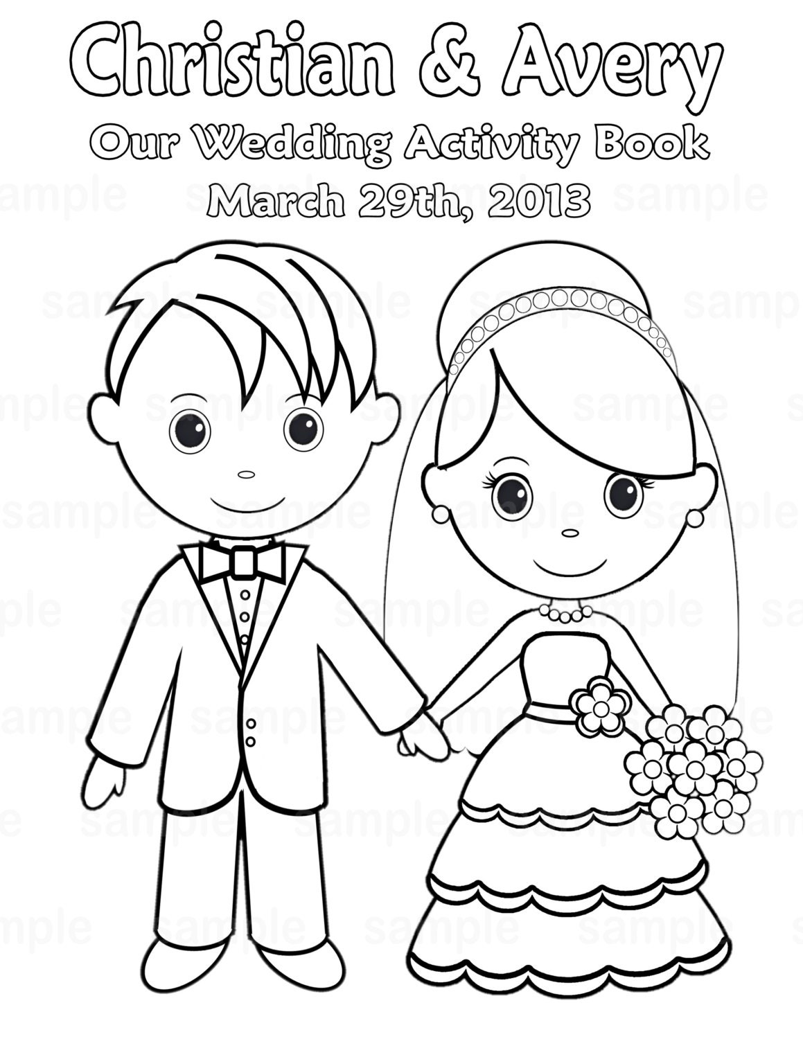 Printable personalized wedding coloring activity by for Wedding coloring pages to print