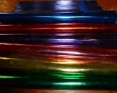 "Leather 3""x11"" Bright Metallic Foil Cowhide Choose your color 2.5 to 3oz / 1-1.2mm PeggySueAlso™"