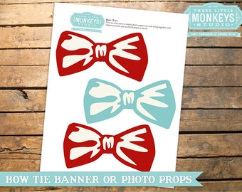 INSTANT DOWNLOAD Little Man Mustache Bow Tie Baby Shower Decor or Photo Props