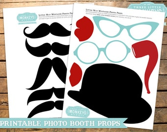 INSTANT DOWNLOAD Little Man Mustache Photo Props