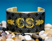 Rustic Cuff Monogram Cuff Bracelet - black tufted with showboat font - M2-06