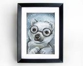 Nerdy Polar Bear Art Print, Black Glasses, White Bear Cub Artwork, 5x7 Wall Art, Animal Illustration