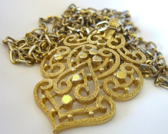 Vintage Trifari Necklace, 1960s Gold Tone Scrollwork, Double Chain Estate Jewelry