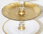 Gold & Milk Glass Cake Cupcake Stand Three Tier Vintage Reclaimed