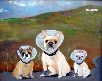 "French Bulldog Art Print of an original oil painting/ ""Sonny Fathers Pups In Hollywood""/ 8  x  10 / Dog art"
