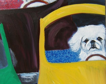 "Pekingese Art Print of an original oil painting/ ""Driving On The Turnpeke""/ 8 x 10 / Dog art"