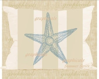 Sky blue starfish on wicker tan stripe Instant Digital download image for iron on fabric transfer burlap print decoupage pillow tote No 1850