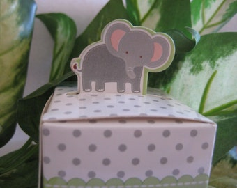 SALE Elephant Party Favor Boxes, Zoo, Animal, Forest, Jungle, Safari Theme, Christening, Birthday, Baby Shower Favors - set of 12