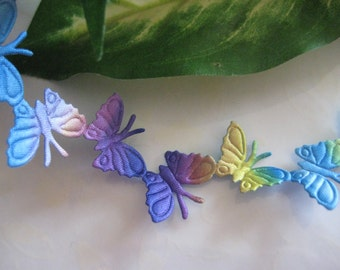 Multi-Colors Satin Butterfly Trim Blue, Turquoise, Purple, Yellow, Brown For Crafting, Scrapbooking,  0.75 inch/19mm Wide