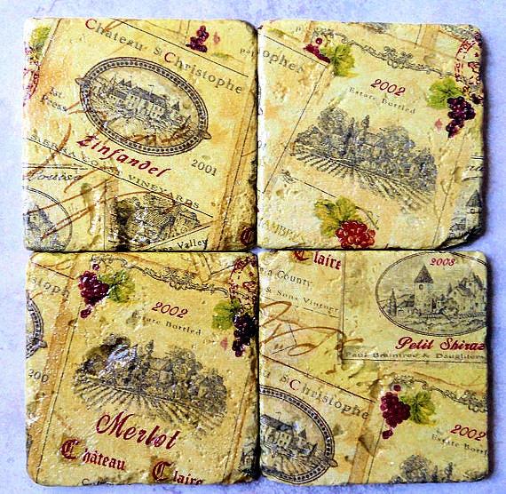 WINE Coasters Tuscan Wine Labels set of 4 Wine Names Tumbled Stone Coasters Zinfandel Petit Chiraz Merlot Wine Names Tuscan Decor