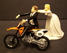 Come Back Motorcycle Orange 520 SX Dirt Bike Bride and Groom Funny Bike Wedding Cake Topper