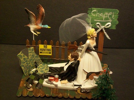 wedding cake topper hunter groom no duck with chapel sign and groom by mikeg1968 26338