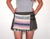 SALE Mexican Poncho Baja Ethnic Toggle Clasp Wool Pleated Mini Skirt