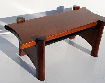 Mid Century Modern Coffe Table Solid Mahogany Wood, Custom Studio