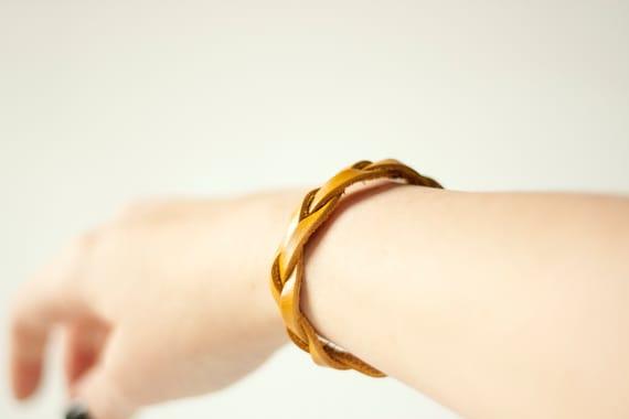 Braided Leather Bracelet / Mustard / Bliss