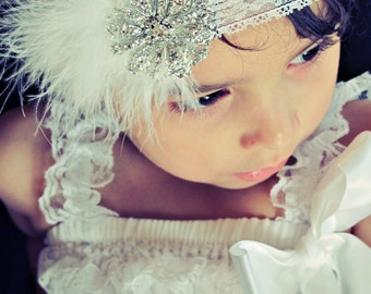 Baby Girl White Lace Headband with white feathers , Big clear rhinestones.Baby Flower Headbands