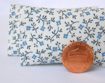 Dollhouse Miniature Set of 2  Pillows, White with Tiny Blue Flowers- 1:12 scale