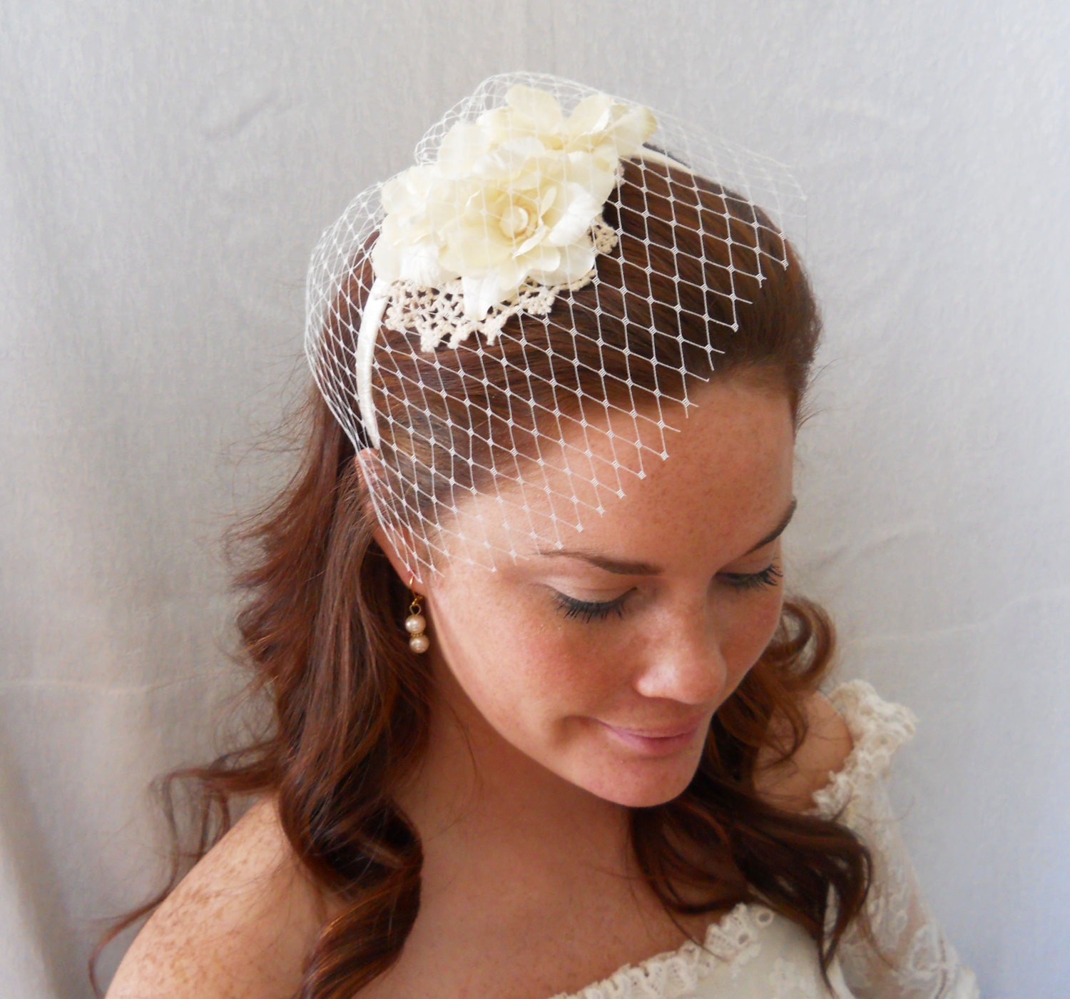 Wedding Hairstyles With Headband And Veil: Bridal Headpiece Bridal Headband With Veil By PearlyJaneBridal
