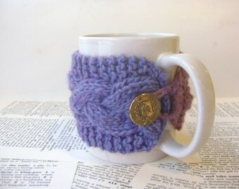 PDF Knitting Pattern, Basic Cabled Cup Cozy Knitting Pattern