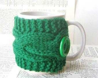 Double Cable Cup Cozy in Kelly Green, Mug Cozy, Tea Cozy, Mug Sleeve, Mug Sweater, Cup Warmer