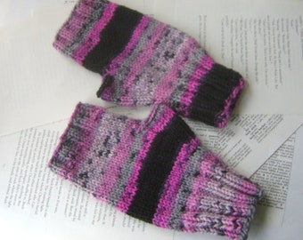 Hand Knit Fingerless Gloves in Pink and Black, Women's Hand Knit Gloves