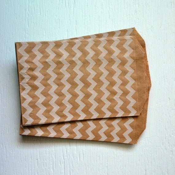 25 Medium Kraft Chevron Paper Bags, 5 x 7.5 inches