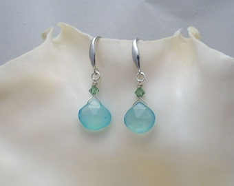 Earrings: Blue Chalcedony Briolettes with Erinite Green Swarovski Crystals on Sterling Silver