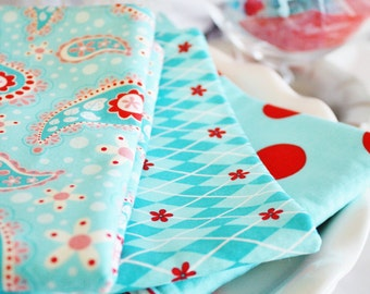 Designer Fabric Baby burp cloths -  Blue & Red