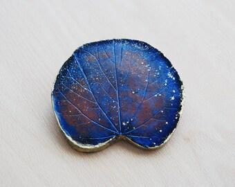 Blue Leaf Ornament, Woodland, Clay Home Decor