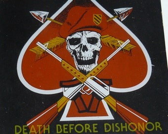 Vintage 1980s Glass Picture SPECIAL FORCES Death Before Dishonor Original Cardboard Frame