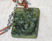 Natural Stone Carved Green Jade Asian Chinese Phoenix Bird Tangerine Leather Old Tibetan Agate Necklace Pendant