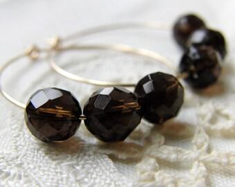 Gold Hoop Earrings Smokey Quartz Gemstone