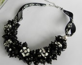 Black and White Ribbon Flower Beaded Necklace With Earrings -Rhinestone Flowers, Cluster Necklace, Handmade, Bridal, Wedding Jewelry, Custom