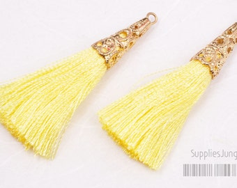 T003-G-YE// Gold Plated Cone Yellow Tassel Pendant, 2pcs