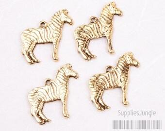 P301-AG// Antique Gold Plated Zebra Pendant Charm, 4pcs