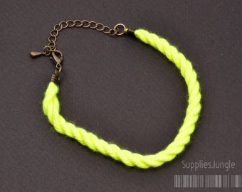 SALE!!! A315-NY// Neon Yellow Rope, Lobster Clasp with Extension Chain Bracelets, 2sets