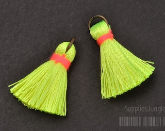 T002-RA-YP// Neon Yellow, Neon Pink Rayon Tassel Pendant, 4pcs, 23mm