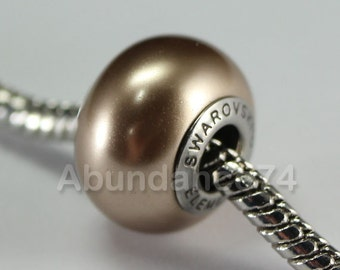 1 pc Swarovski BeCharmed Crystal Pearl European Bead charm / Spacer - 5890 14mm - Color : Bronze