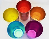 Vintage Aluminum Anodized Tumblers Retro Collectible Set of 5 Aluminum Cups