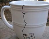 Drink Me Alice in Wonderland Tea Party Handwritten Ceramic Mug Trendy Cool Housewarming gift