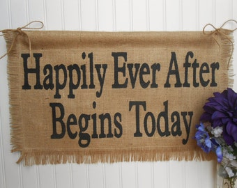Burlap WEDDING Banner, Happily Ever After, ceremony and/or reception decoration
