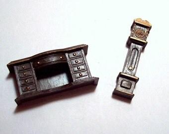 Vintage Miniature doll House Furniture - Desk - Grandfather Clock