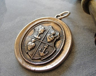 Love Hope Faith Wax Seal Pendant anchor sacred heart chalice - wax seal jewelry charm in bronze by RQP Studio