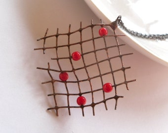 Wire necklace, contemporary jewelry, copper wire pendant, bohemian jewelry, red beads, birthday gift, funky, Pearler