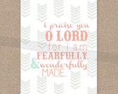 "INSTANT DOWNLOAD - Scripture Print for the wall - Psalm 139 ""Fearfully & Wonderfully Made"" arrow 8x10 bible verse wall art decor"